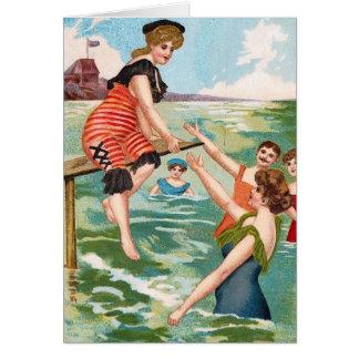 Cartão da ilustração da praia do vintage do KRW