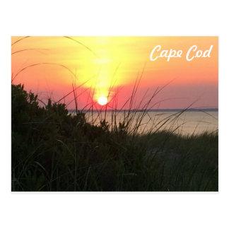 Cartão da laranja do por do sol de Cape Cod