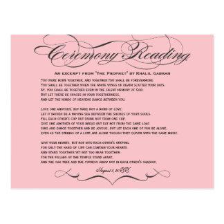 Cartão da leitura da cerimónia cartão postal