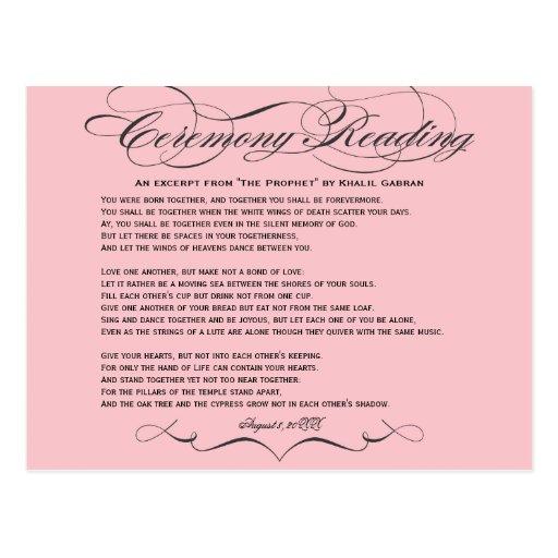 Cartão da leitura da cerimónia cartões postais