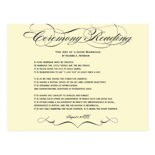 Cartão da leitura da cerimónia cartao postal