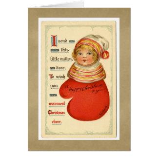 Cartão da menina do mitene do natal vintage
