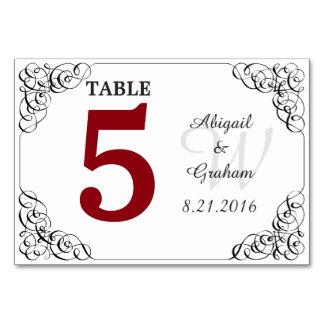Cartão da mesa do vermelho e do branco