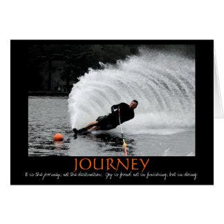 Cartão da motivação do esqui aquático (B&W