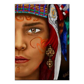 Cartão da mulher do nativo americano
