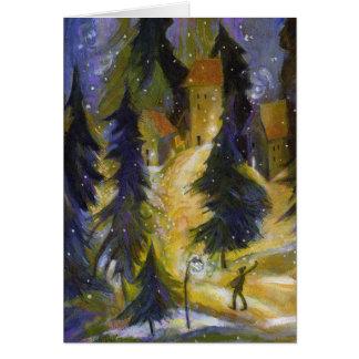 Cartão da noite da vila do inverno do esquiador