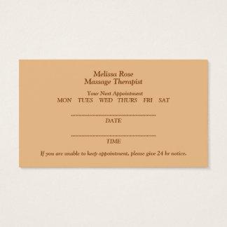 Cartão da nomeação de toalhas do bar da massagem