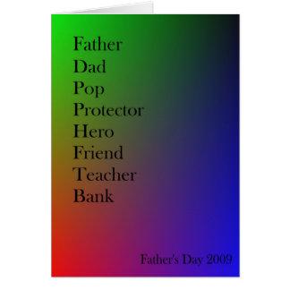 Cartão da palavra-associação do pai