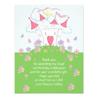 Cartão da princesa Castelo Agradecimento Você Liso Convite Personalizado