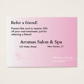 Cartão da referência com fundo cor-de-rosa