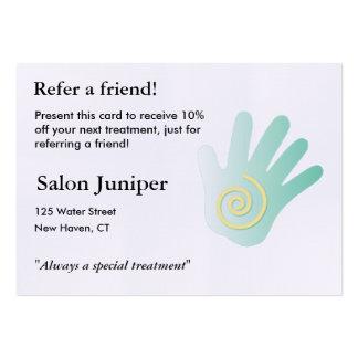Cartão da referência com mão da massagem cartão de visita grande