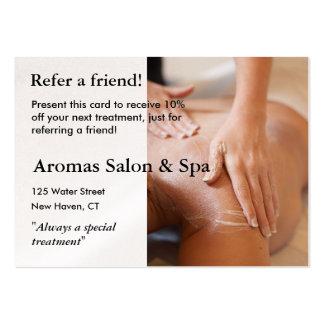 Cartão da referência com mãos da massagem cartão de visita grande