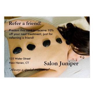 Cartão da referência com pedras da massagem cartão de visita grande