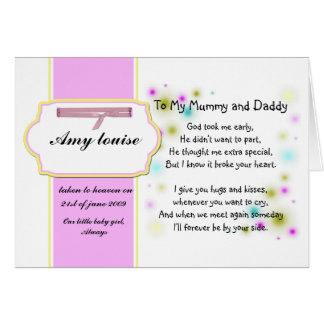 Cartão da relembrança para o bebé ou a criança