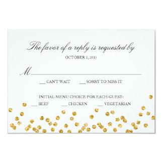 Cartão da resposta da faísca do ouro do falso com convite 8.89 x 12.7cm