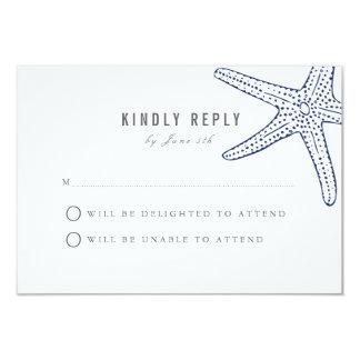 Cartão da resposta do casamento da estrela do mar