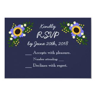 Cartão da resposta do casamento do girassol
