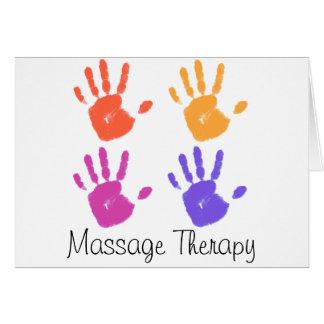 Cartão da terapia da massagem