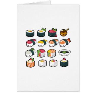 Cartão da variedade do sushi