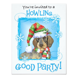 Cartão Dachshund Wirehaired feliz de Howlidays