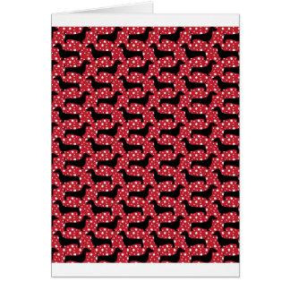 Cartão Dachshunds vermelhos da polca