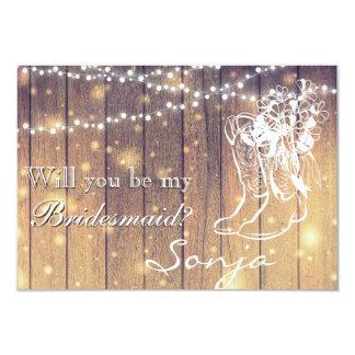 Cartão Dama de honra - botas de vaqueiro, madeira com