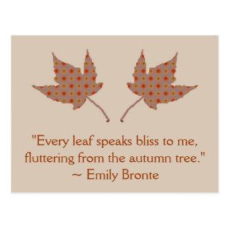 Cartão das citações da folha do outono de Emily