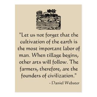 Cartão das citações de Daniel Webster