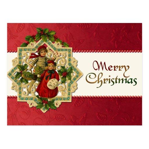 Cartão das crianças do natal vintage cartão postal