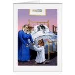 Cartão das horas de dormir dos gatos do vintage po