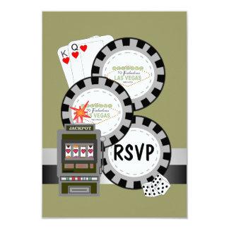 Cartão das microplaquetas de póquer RSVP de Las Convite 8.89 X 12.7cm