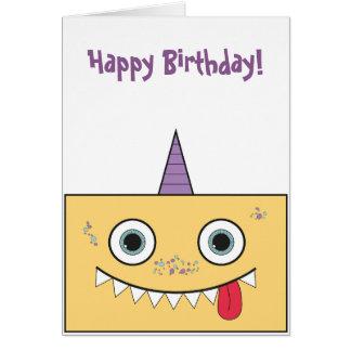 Cartão de aniversário amarelo do monstro