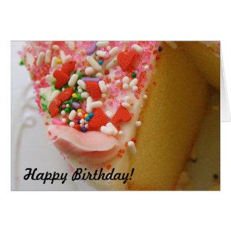 Cartão de aniversário com o bolo de aniversário a