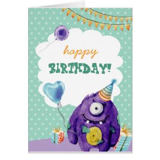 Cartão de aniversário Customisable com monstro