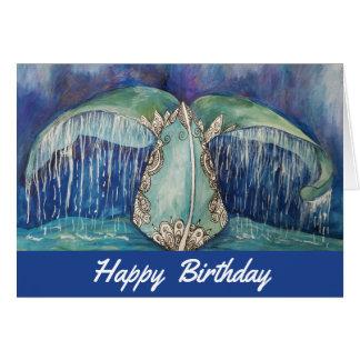 Cartão de aniversário da cauda da baleia