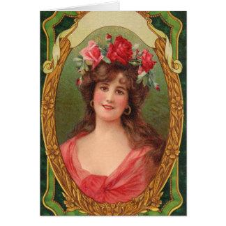 Cartão de aniversário da mulher do vintage
