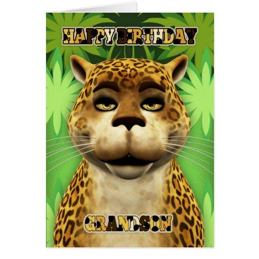 Cartão de aniversário da selva do leopardo do neto
