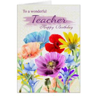 Cartão de aniversário das flores selvagens da