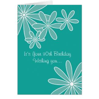 Cartão de aniversário de 30 anos floral de