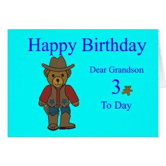 Cartão de aniversário de 3 anos do neto