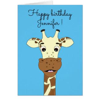 Cartão de aniversário de criança azul dos desenhos