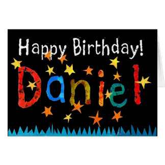 """Cartão de aniversário de """"Daniel"""" (preto)"""