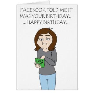 Cartão de aniversário de Facebook