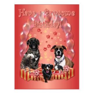 Cartão de aniversário de Pawsome Cartão Postal