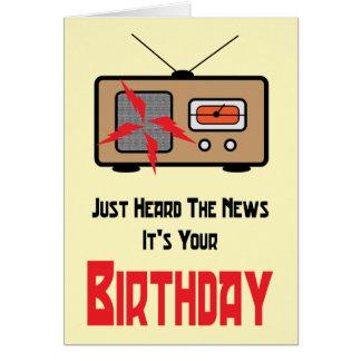 Cartão de aniversário de rádio retro