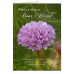 cartão de aniversário do amigo com a flor cor-de-r