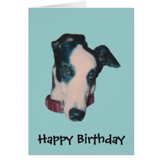 Cartão de aniversário do cão da cara do galgo