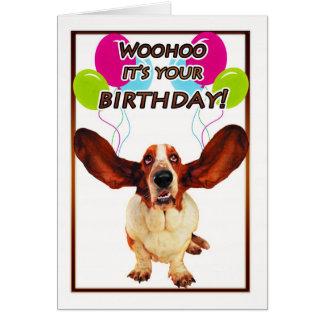 cartão de aniversário do cão de basset - woohoo é
