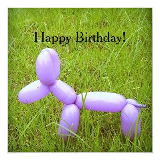 Cartão de aniversário do cão do balão (com convite quadrado 13.35 x 13.35cm