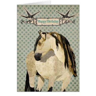 Cartão de aniversário do cavalo branco